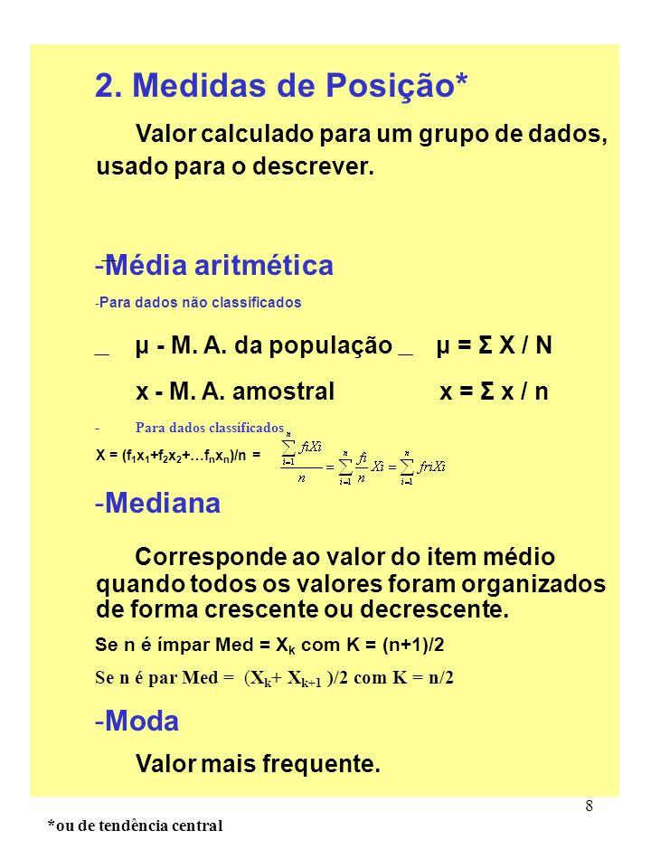 2. Medidas de Posição* Média aritmética