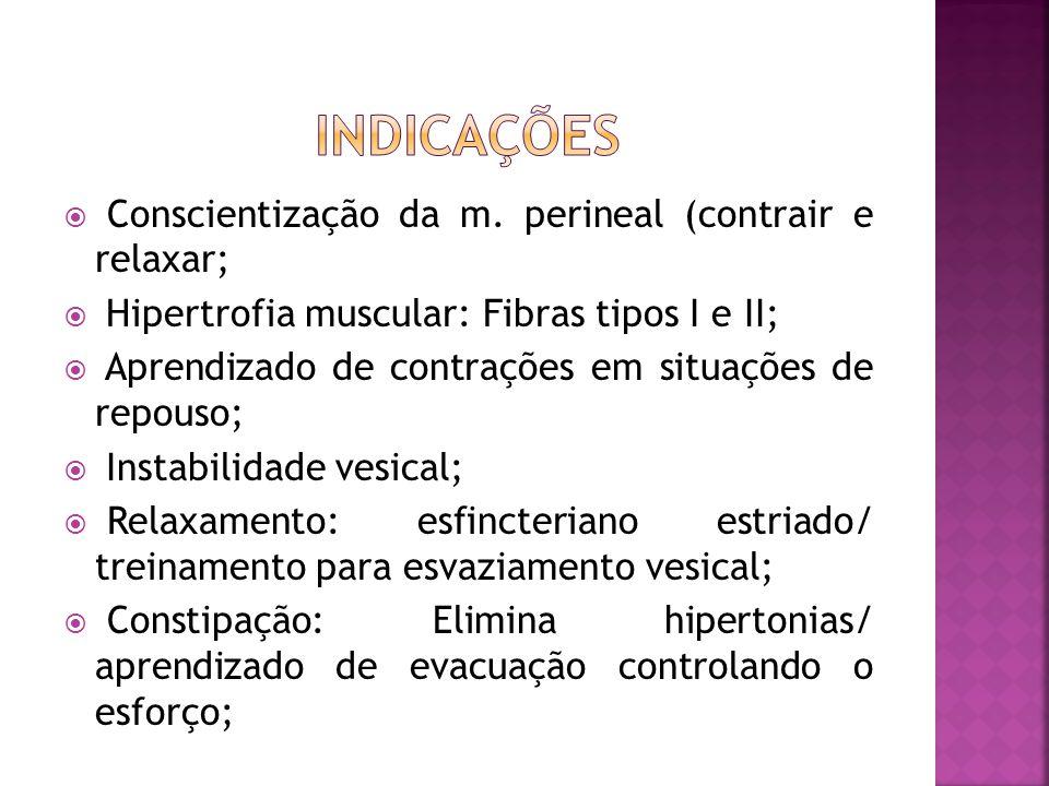 INDICAÇÕES Conscientização da m. perineal (contrair e relaxar;