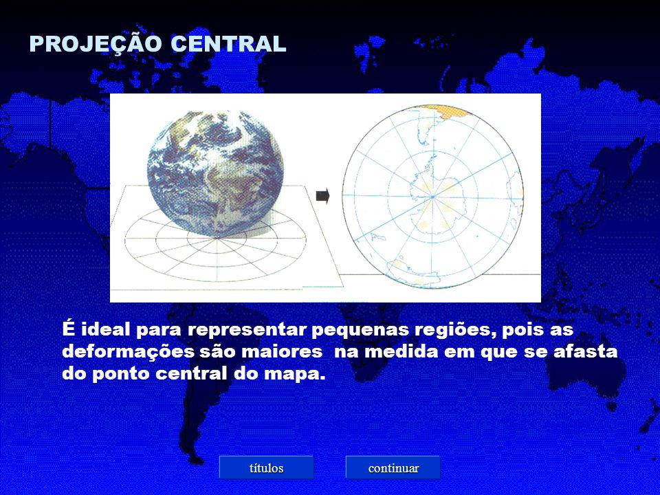 PROJEÇÃO CENTRAL É ideal para representar pequenas regiões, pois as deformações são maiores na medida em que se afasta do ponto central do mapa.