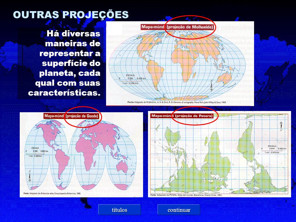 OUTRAS PROJEÇÕES Há diversas maneiras de representar a superfície do planeta, cada qual com suas características.