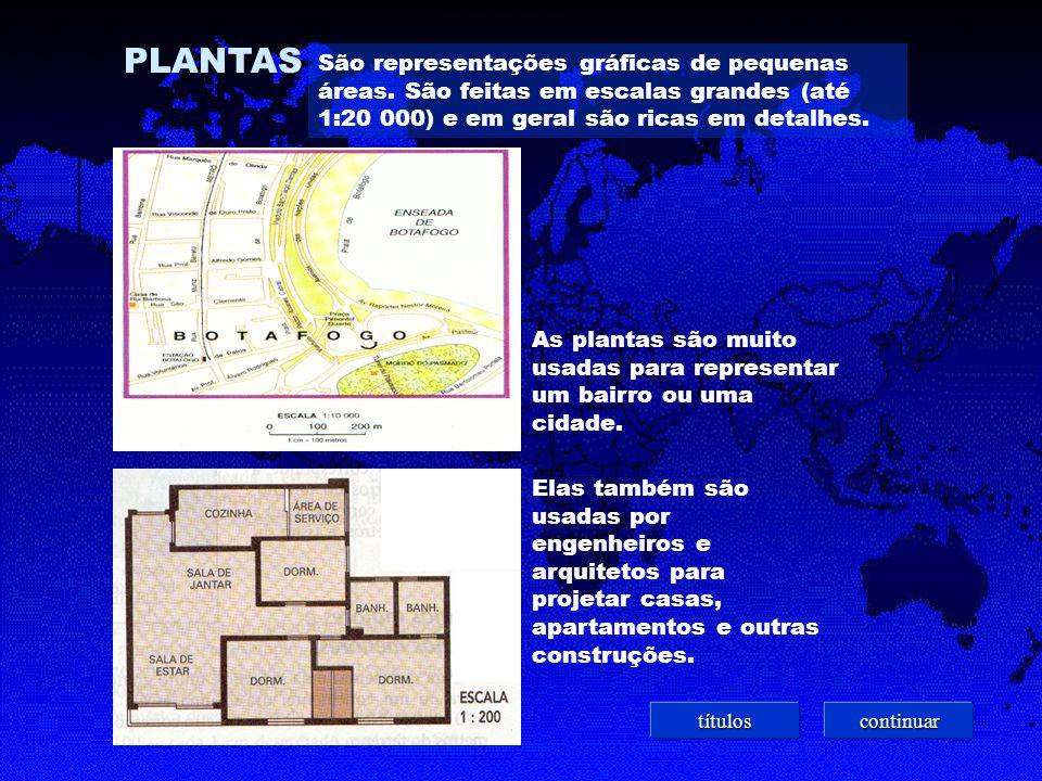PLANTAS São representações gráficas de pequenas áreas. São feitas em escalas grandes (até 1:20 000) e em geral são ricas em detalhes.