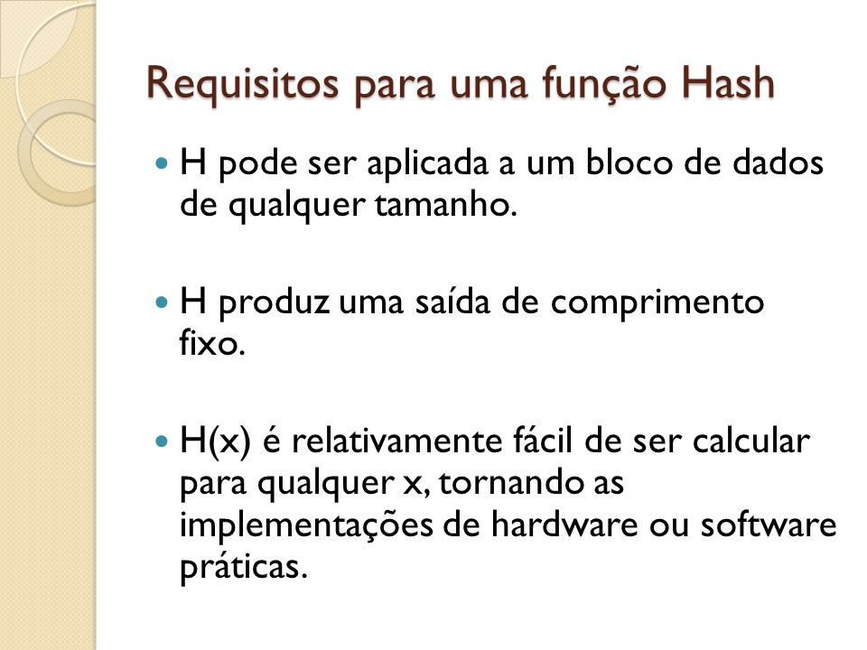 Requisitos para uma função Hash