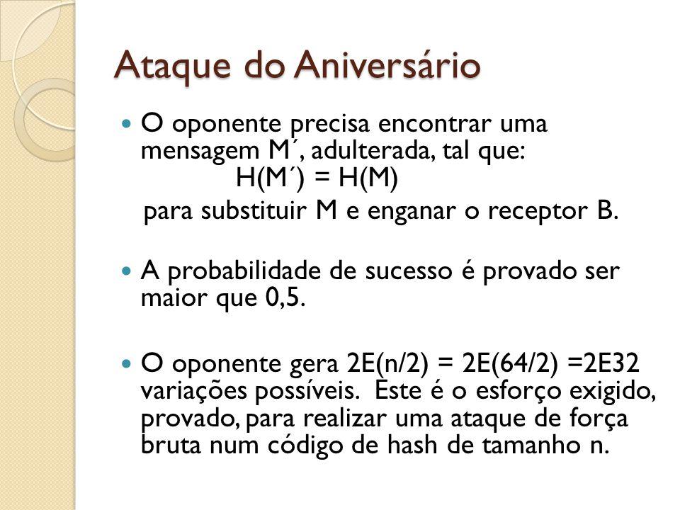 Ataque do Aniversário O oponente precisa encontrar uma mensagem M´, adulterada, tal que: H(M´) = H(M)