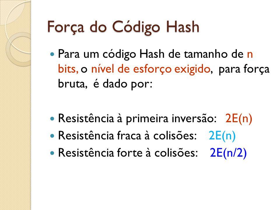 Força do Código Hash Para um código Hash de tamanho de n bits, o nível de esforço exigido, para força bruta, é dado por: