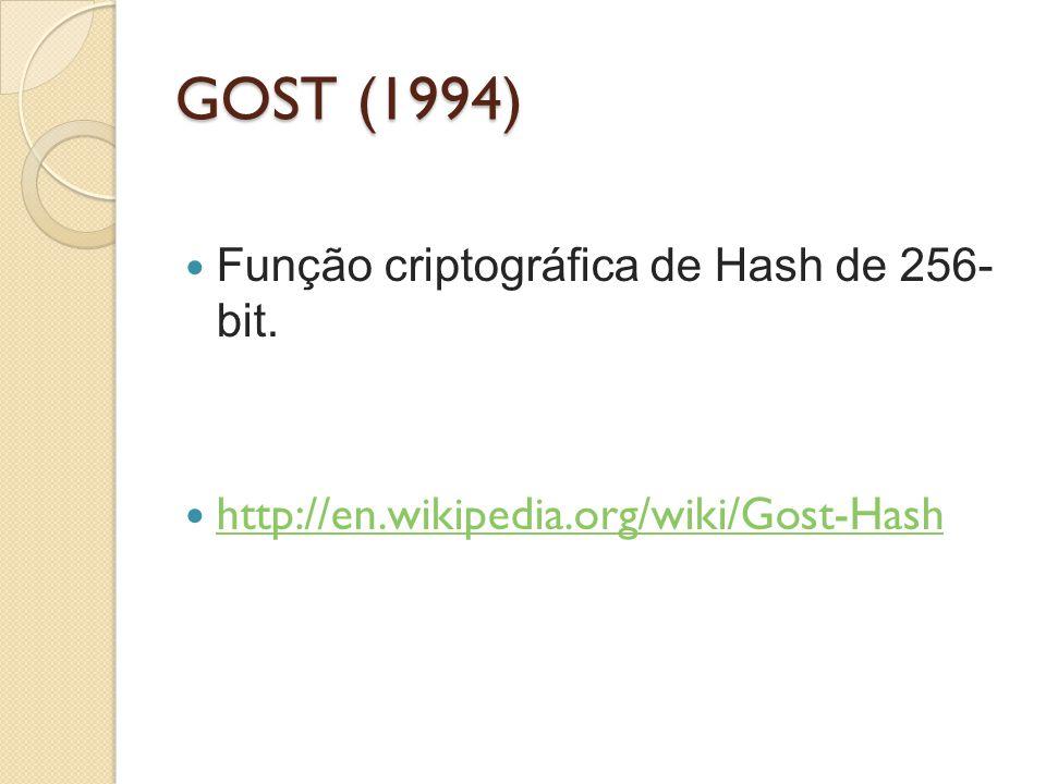 GOST (1994) Função criptográfica de Hash de 256- bit.
