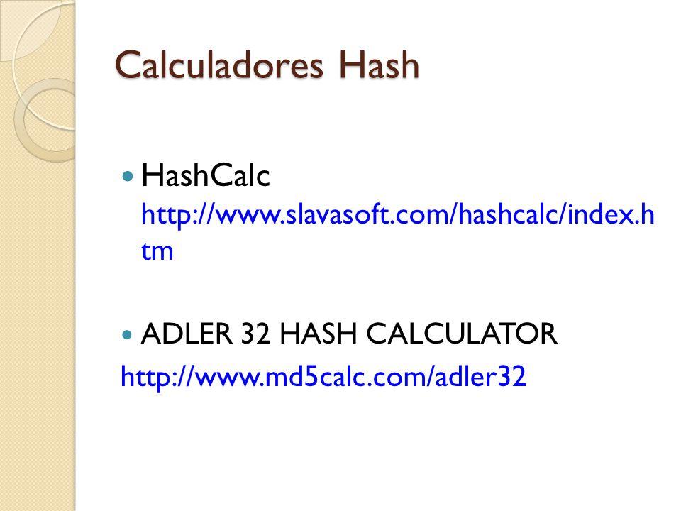 Calculadores Hash HashCalc http://www.slavasoft.com/hashcalc/index.h tm. ADLER 32 HASH CALCULATOR.