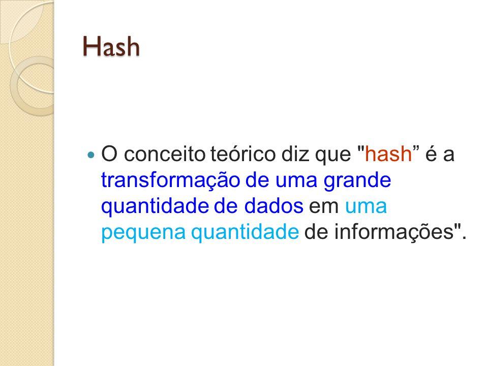 Hash O conceito teórico diz que hash é a transformação de uma grande quantidade de dados em uma pequena quantidade de informações .