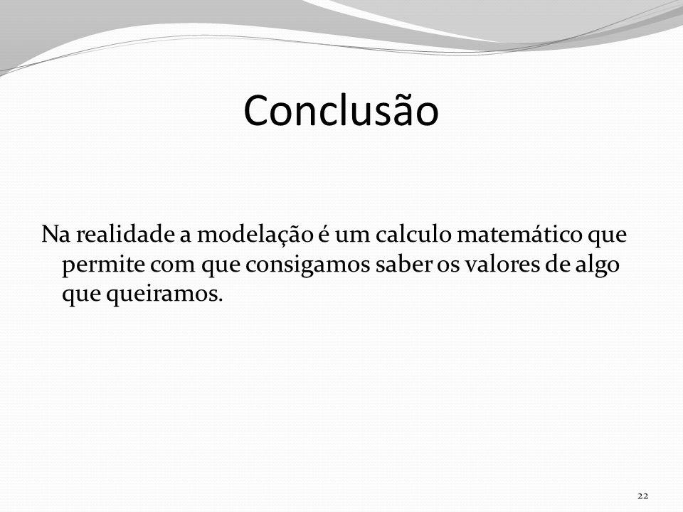 Conclusão Na realidade a modelação é um calculo matemático que permite com que consigamos saber os valores de algo que queiramos.