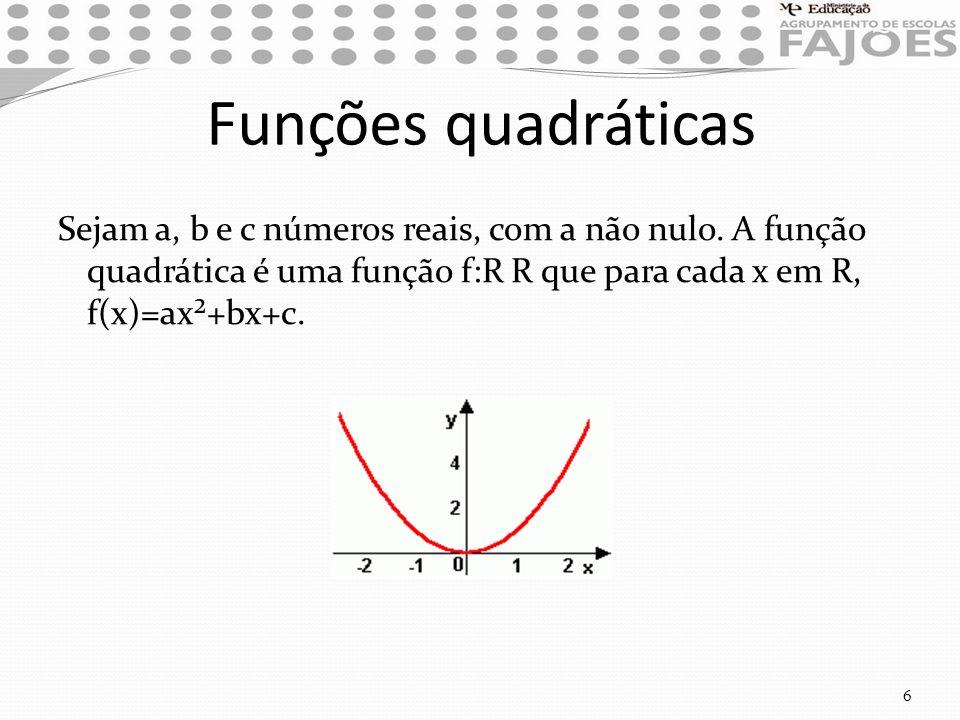 Funções quadráticas Sejam a, b e c números reais, com a não nulo.