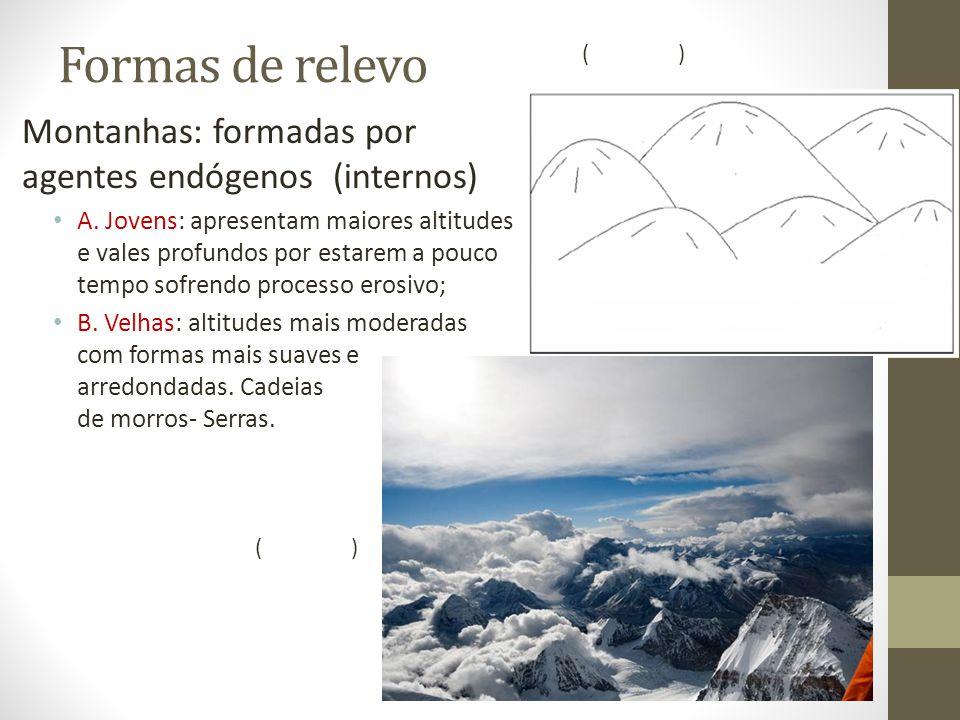 Formas de relevo Montanhas: formadas por agentes endógenos (internos)