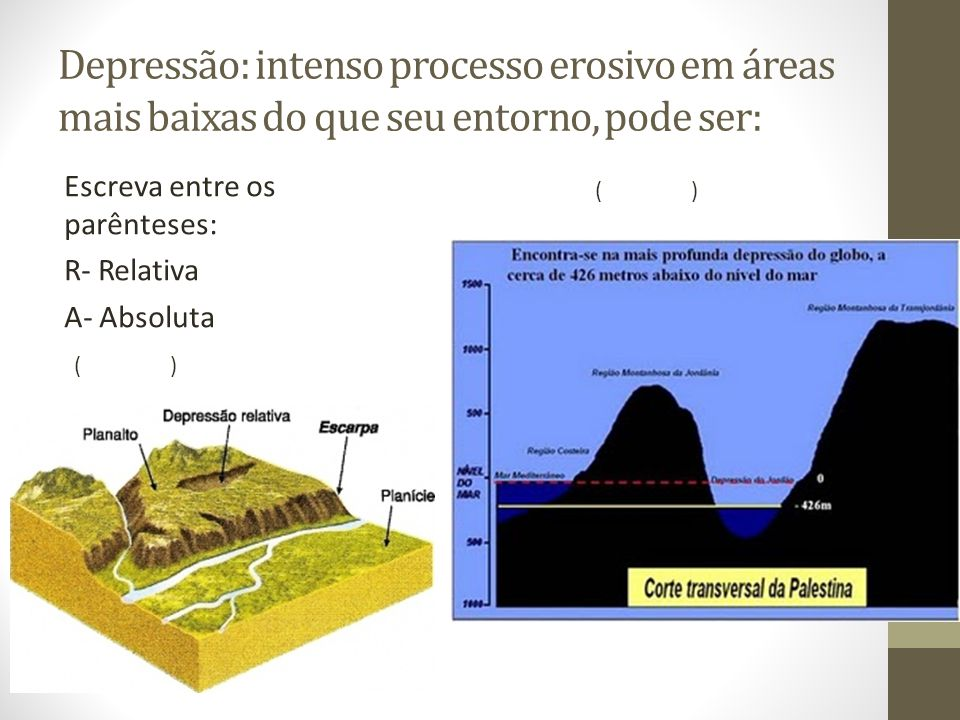 Depressão: intenso processo erosivo em áreas mais baixas do que seu entorno, pode ser: