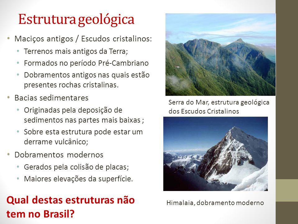 Estrutura geológica Qual destas estruturas não tem no Brasil