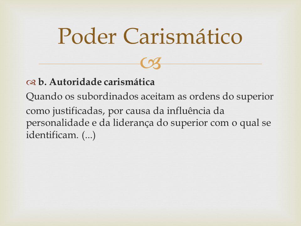 Poder Carismático b. Autoridade carismática