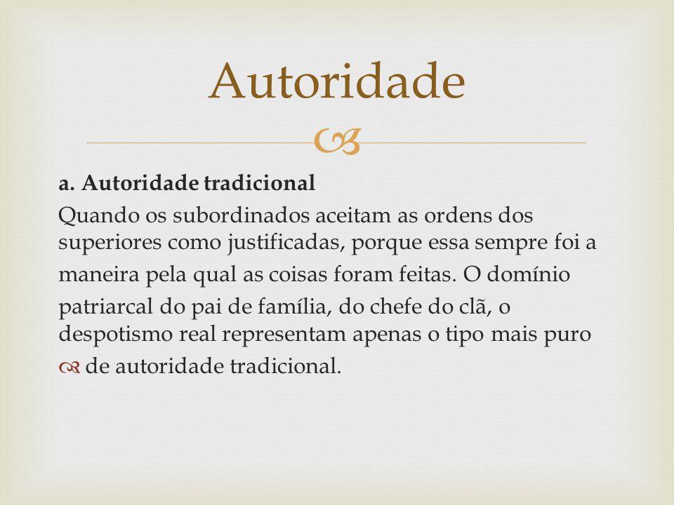 Autoridade a. Autoridade tradicional