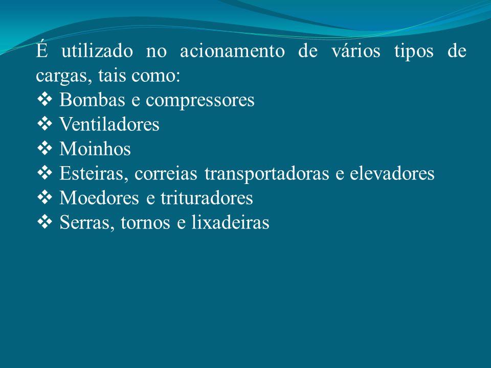 É utilizado no acionamento de vários tipos de cargas, tais como:
