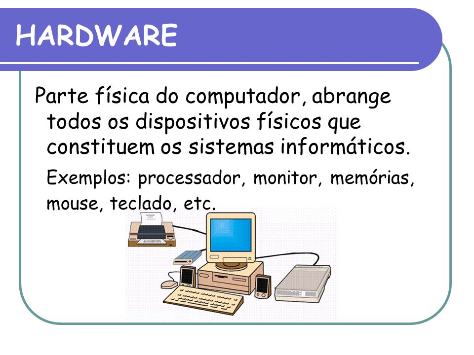 HARDWARE Parte física do computador, abrange todos os dispositivos físicos que constituem os sistemas informáticos.