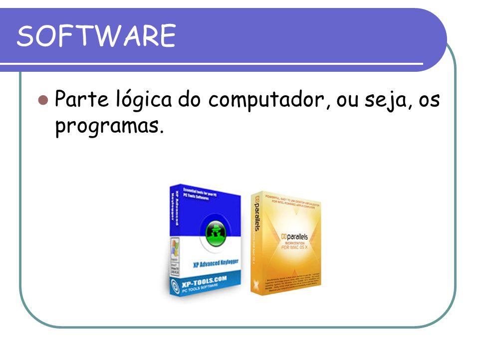 SOFTWARE Parte lógica do computador, ou seja, os programas.