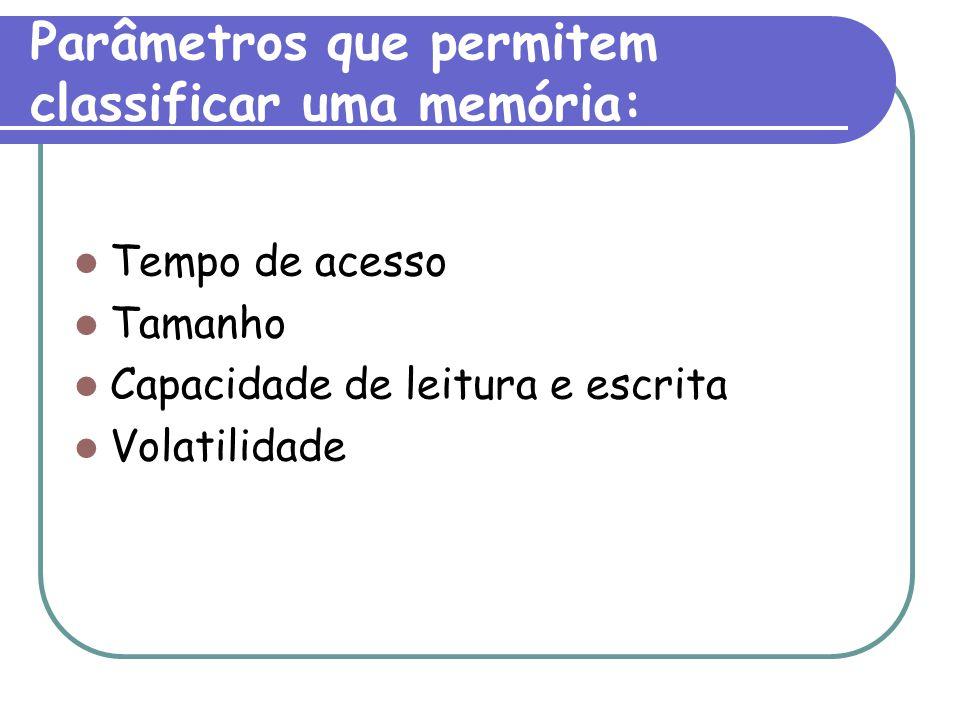 Parâmetros que permitem classificar uma memória: