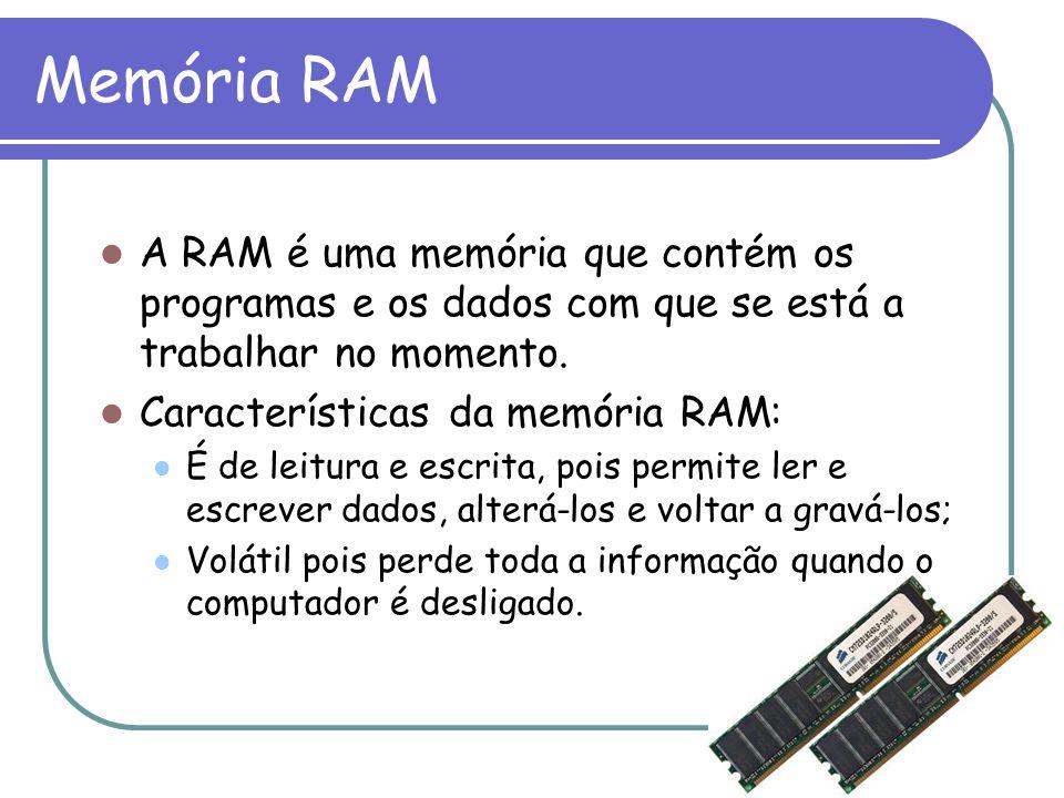 Memória RAM A RAM é uma memória que contém os programas e os dados com que se está a trabalhar no momento.