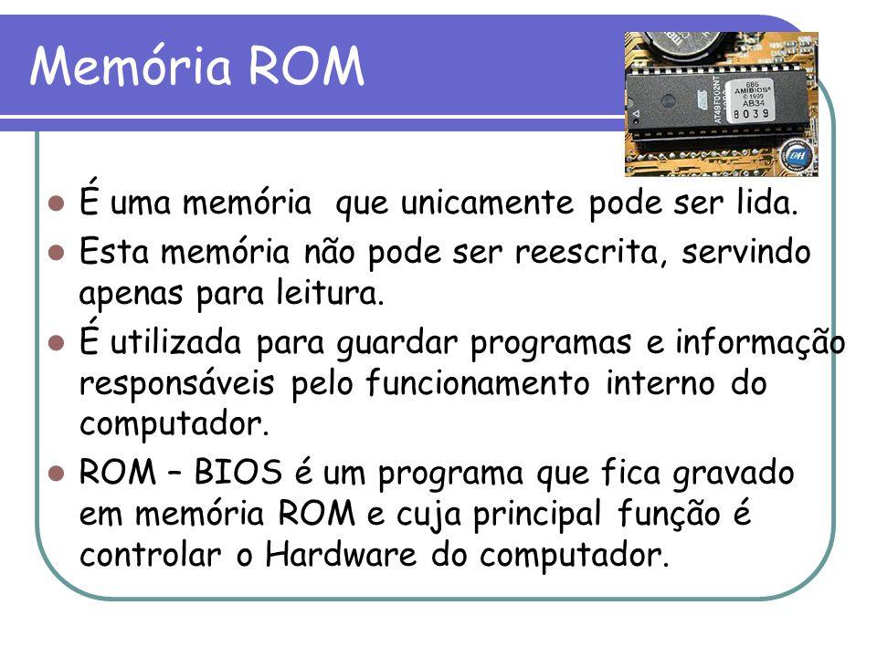 Memória ROM É uma memória que unicamente pode ser lida.