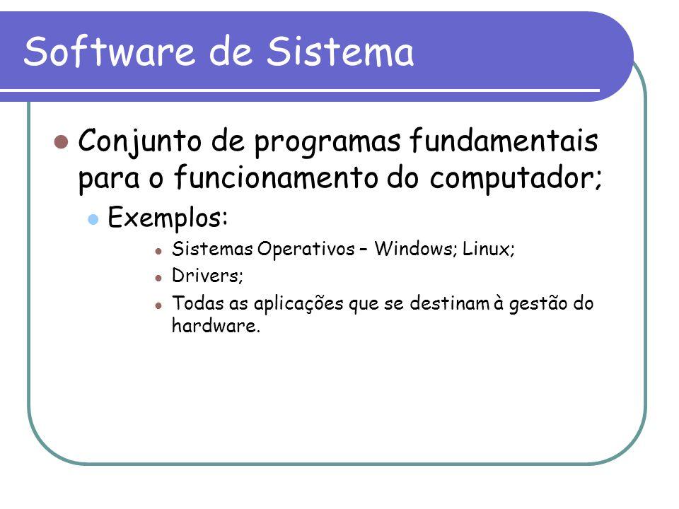Software de Sistema Conjunto de programas fundamentais para o funcionamento do computador; Exemplos: