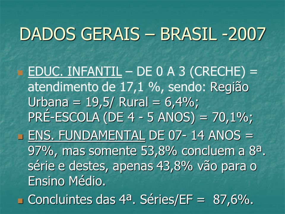 DADOS GERAIS – BRASIL -2007
