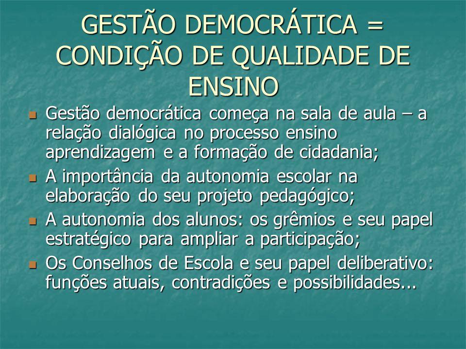 GESTÃO DEMOCRÁTICA = CONDIÇÃO DE QUALIDADE DE ENSINO