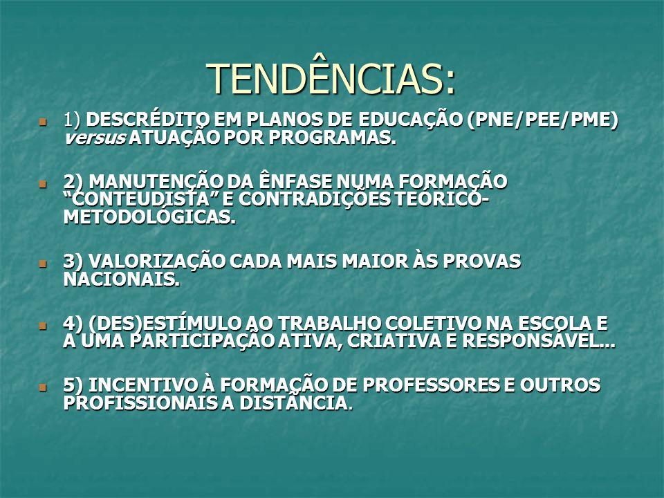 TENDÊNCIAS: 1) DESCRÉDITO EM PLANOS DE EDUCAÇÃO (PNE/PEE/PME) versus ATUAÇÃO POR PROGRAMAS.