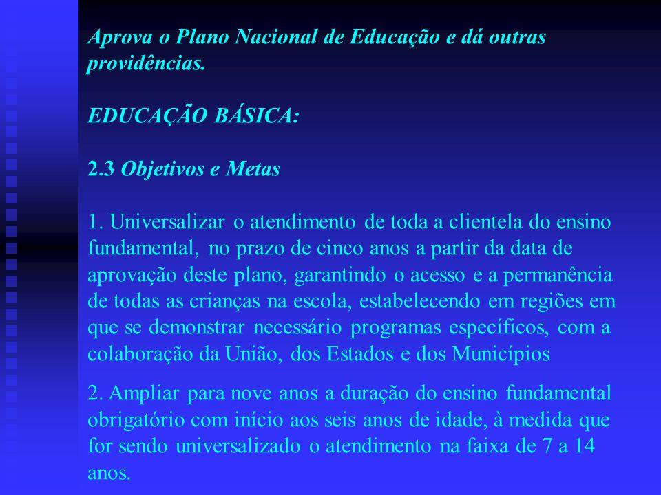 Aprova o Plano Nacional de Educação e dá outras providências