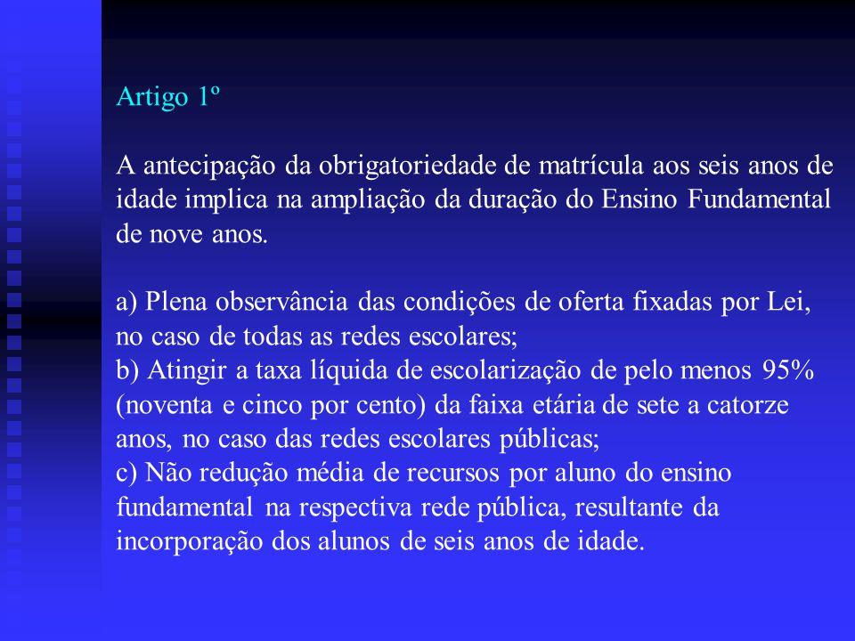 Artigo 1º A antecipação da obrigatoriedade de matrícula aos seis anos de idade implica na ampliação da duração do Ensino Fundamental de nove anos.