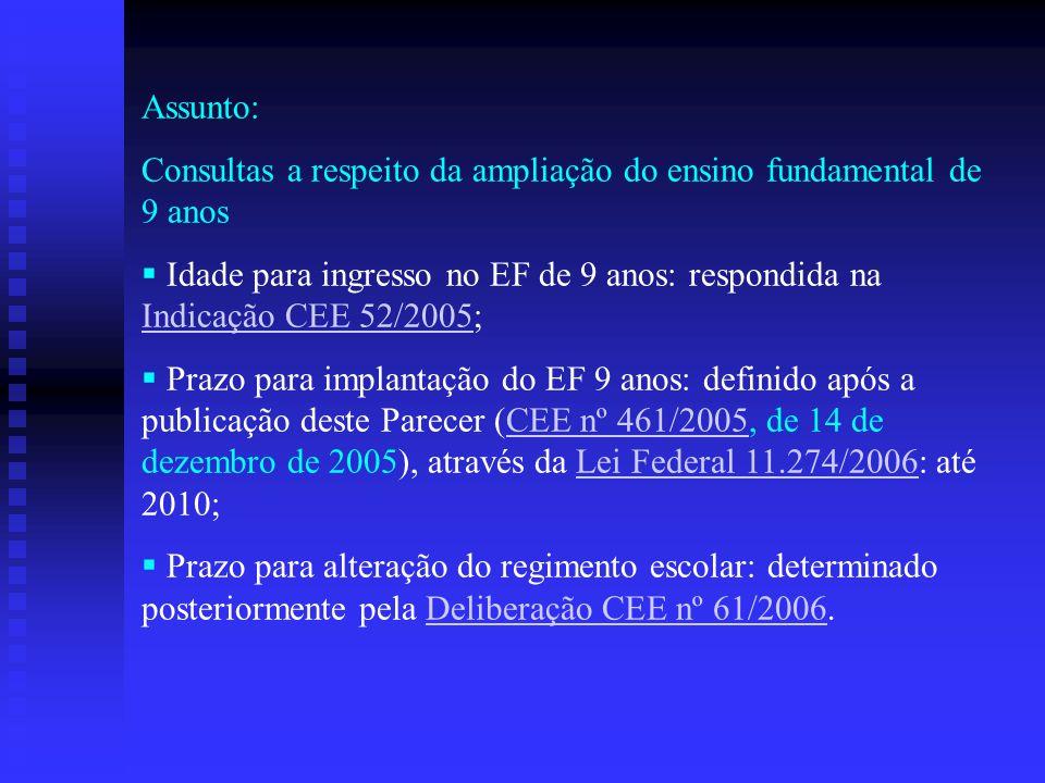 Assunto: Consultas a respeito da ampliação do ensino fundamental de 9 anos.