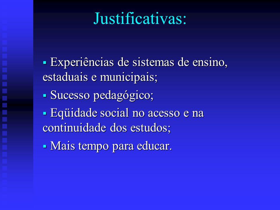 Justificativas: Experiências de sistemas de ensino, estaduais e municipais; Sucesso pedagógico;
