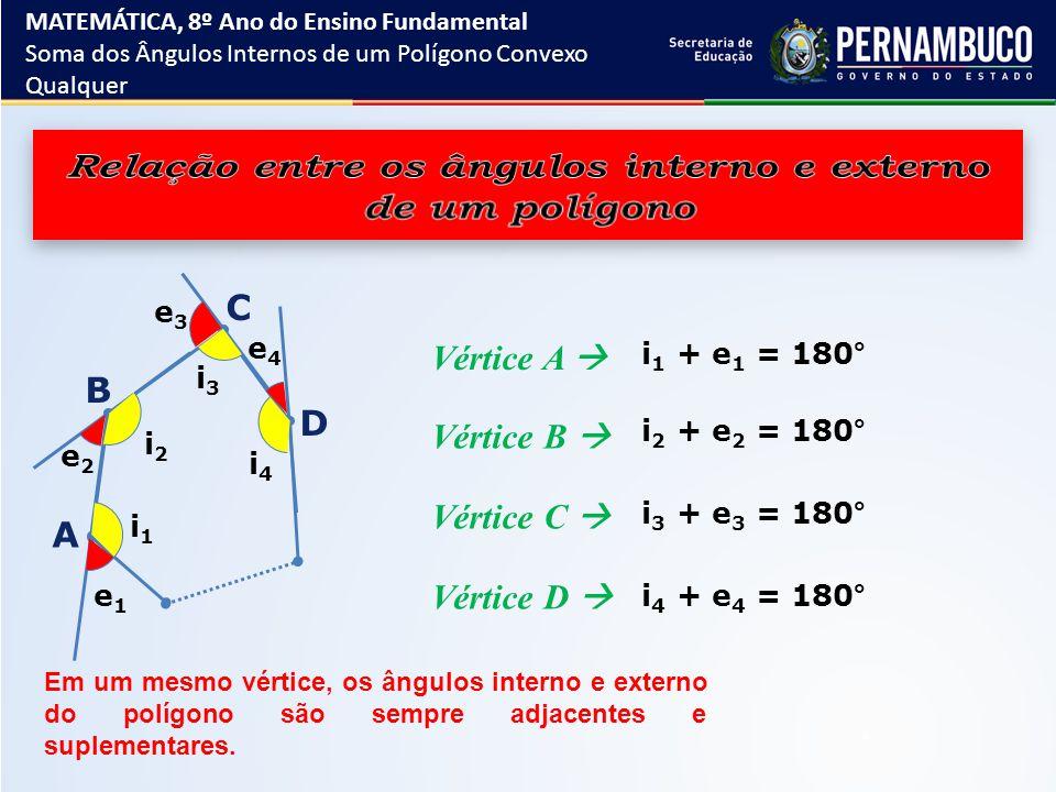Relação entre os ângulos interno e externo de um polígono