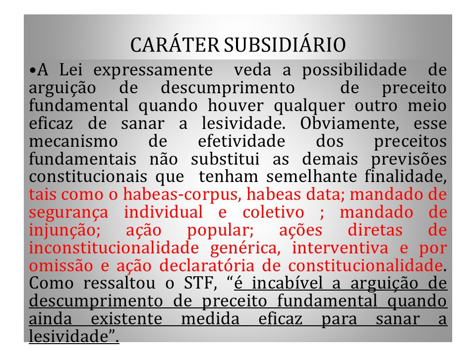CARÁTER SUBSIDIÁRIO
