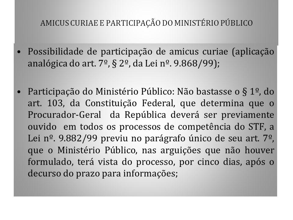 AMICUS CURIAE E PARTICIPAÇÃO DO MINISTÉRIO PÚBLICO