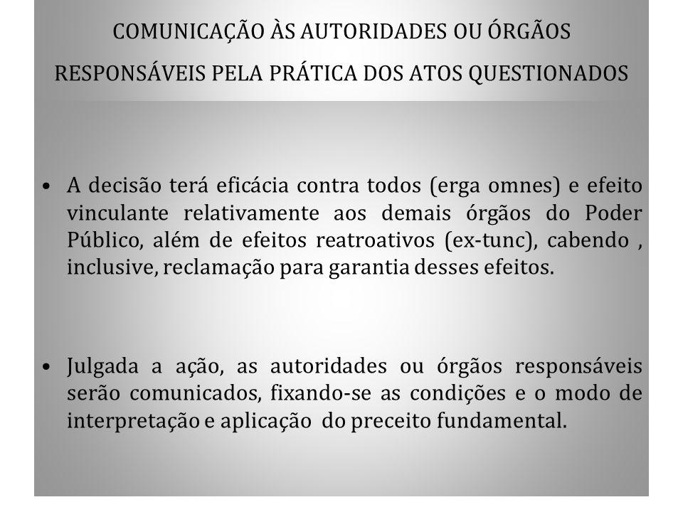 COMUNICAÇÃO ÀS AUTORIDADES OU ÓRGÃOS RESPONSÁVEIS PELA PRÁTICA DOS ATOS QUESTIONADOS