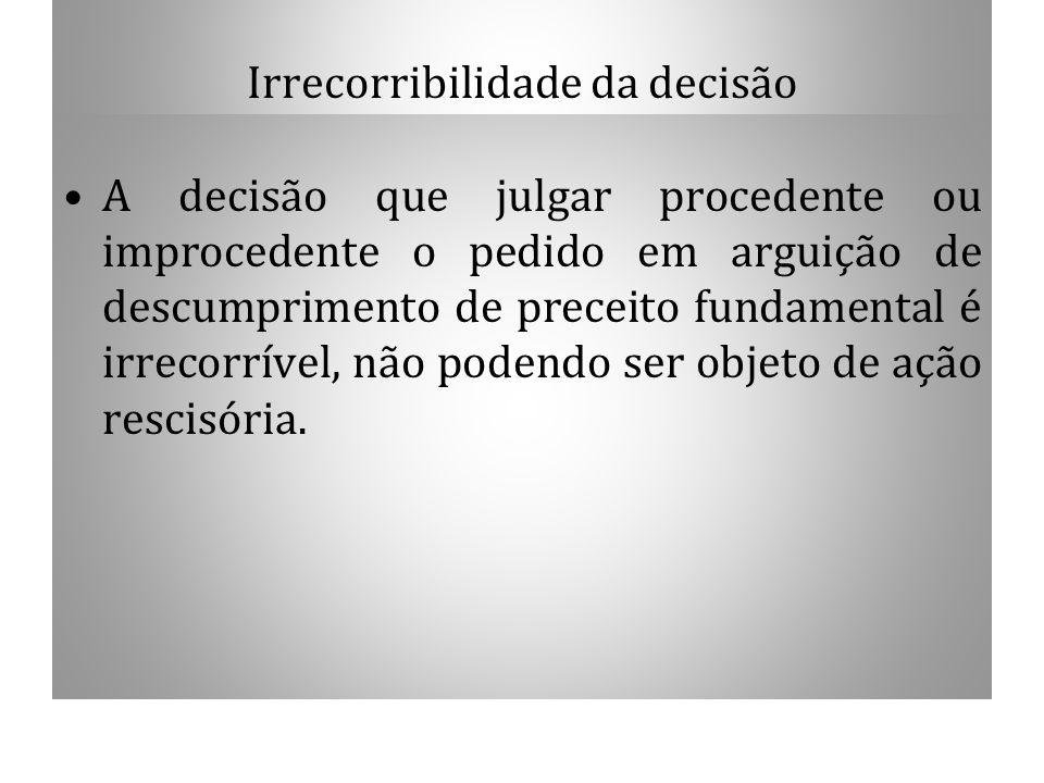 Irrecorribilidade da decisão