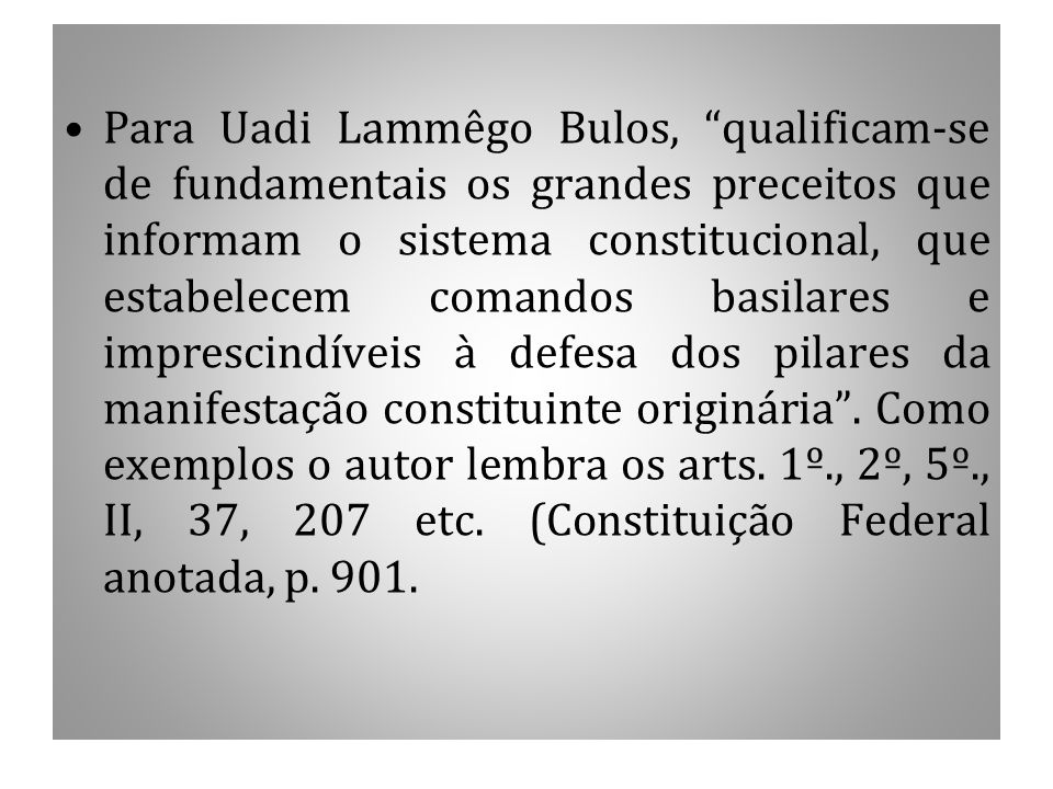 Para Uadi Lammêgo Bulos, qualificam-se de fundamentais os grandes preceitos que informam o sistema constitucional, que estabelecem comandos basilares e imprescindíveis à defesa dos pilares da manifestação constituinte originária .