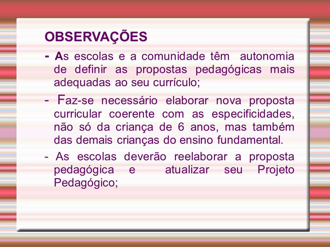OBSERVAÇÕES - As escolas e a comunidade têm autonomia de definir as propostas pedagógicas mais adequadas ao seu currículo;