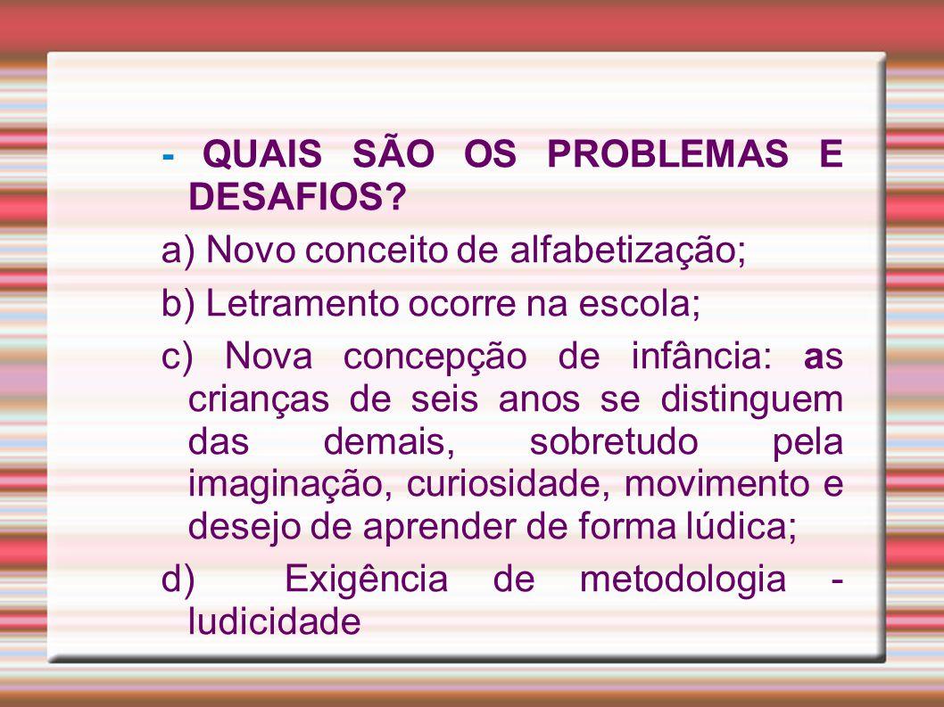 - QUAIS SÃO OS PROBLEMAS E DESAFIOS