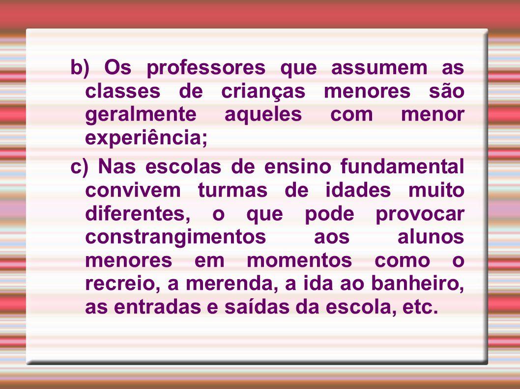 b) Os professores que assumem as classes de crianças menores são geralmente aqueles com menor experiência;