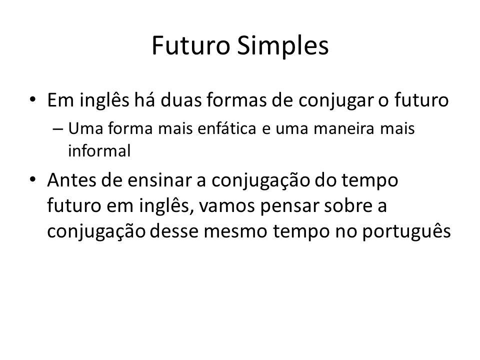 Futuro Simples Em inglês há duas formas de conjugar o futuro