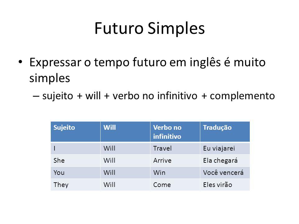 Futuro Simples Expressar o tempo futuro em inglês é muito simples