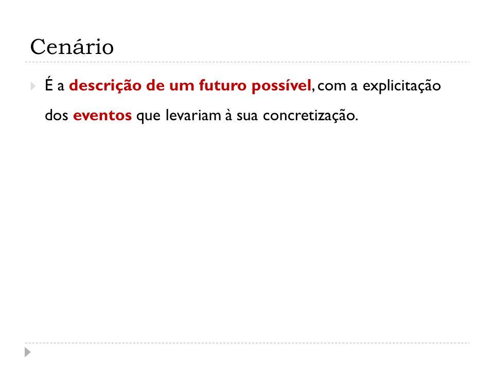 Cenário É a descrição de um futuro possível, com a explicitação dos eventos que levariam à sua concretização.
