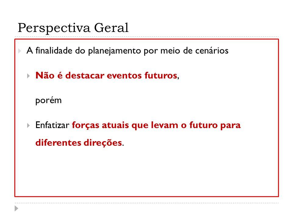 Perspectiva Geral A finalidade do planejamento por meio de cenários