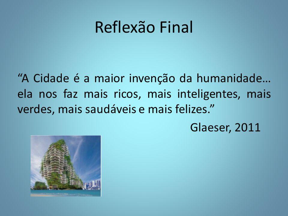 Reflexão Final A Cidade é a maior invenção da humanidade… ela nos faz mais ricos, mais inteligentes, mais verdes, mais saudáveis e mais felizes.