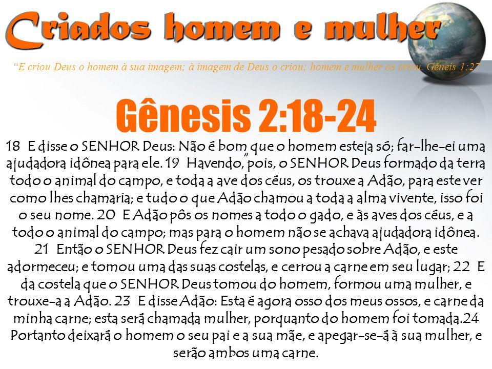 Criados homem e mulher Gênesis 2:18-24