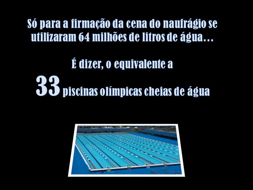 Só para a firmação da cena do naufrágio se utilizaram 64 milhões de litros de água… É dizer, o equivalente a 33 piscinas olímpicas cheias de água