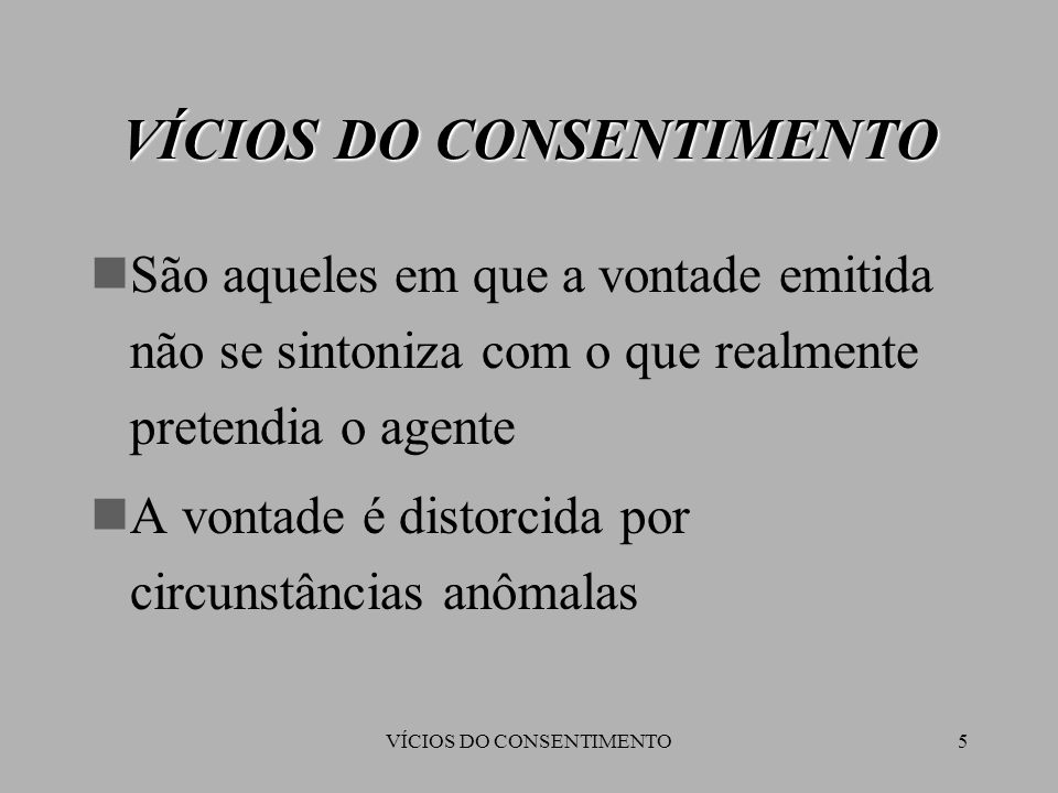 VÍCIOS DO CONSENTIMENTO