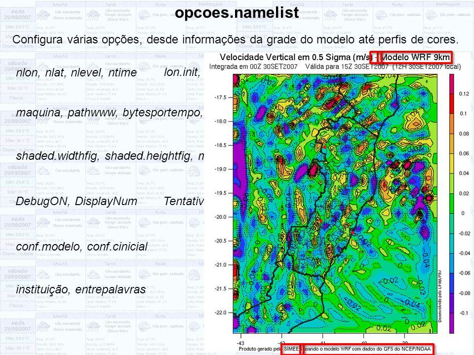 opcoes.namelist Configura várias opções, desde informações da grade do modelo até perfis de cores. nlon, nlat, nlevel, ntime.